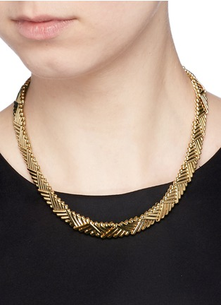 Figure View - Click To Enlarge - Philippe Audibert - 'Natte' chevron bar chain necklace