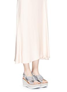 FABIO RUSCONI'Deni' mirror leather suede wedge sandals