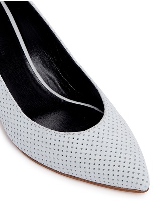 Detail View - Click To Enlarge - Fabio Rusconi - Mirror leather heel perforated suede pumps