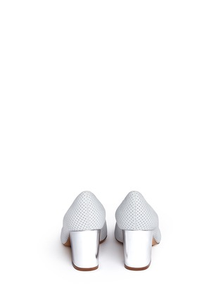 Back View - Click To Enlarge - Fabio Rusconi - Mirror leather heel perforated suede pumps