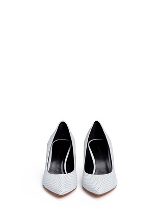 Front View - Click To Enlarge - Fabio Rusconi - Mirror leather heel perforated suede pumps
