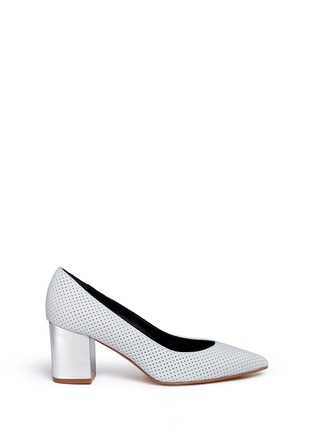 Main View - Click To Enlarge - Fabio Rusconi - Mirror leather heel perforated suede pumps