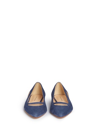 Front View - Click To Enlarge - Fabio Rusconi - Mesh cutout suede skimmer flats
