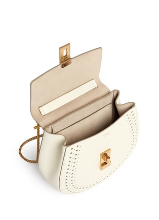 Detail View - Click To Enlarge - Chloé - 'Drew' small perforated leather shoulder bag