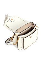 'Hudson' small rivet folded trim leather saddle bag