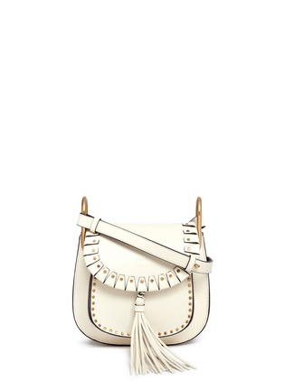 Main View - Click To Enlarge - Chloé - 'Hudson' small rivet folded trim leather saddle bag