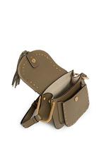 'Hudson' mini rivet folded trim leather saddle bag
