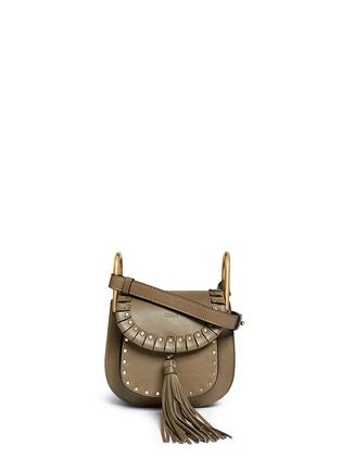 Main View - Click To Enlarge - Chloé - 'Hudson' mini rivet folded trim leather saddle bag