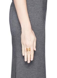 AMANDA MOUNSER'Unity' pearl stud asymmetric cutout short ring