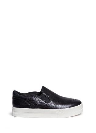 Main View - Click To Enlarge - Ash - 'Jungle Shiny' waxed leather skate slip-ons