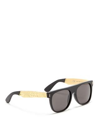 SUPER-'Flat Top Francis Goffrato' croc engraved metal temple sunglasses