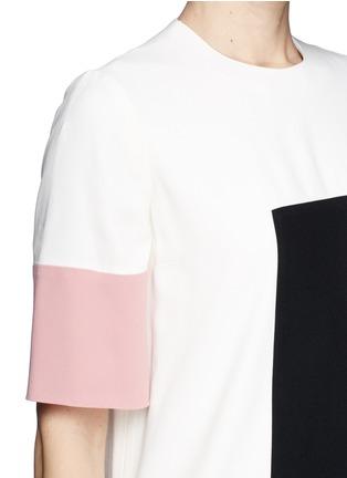 Detail View - Click To Enlarge - Alexander McQueen - Colourblock leaf crepe shift dress