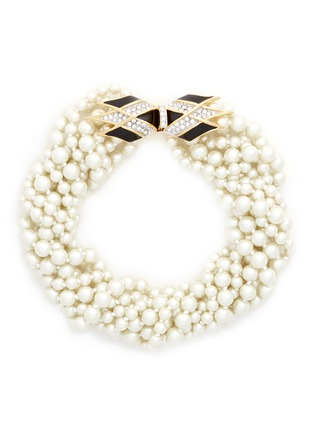 Main View - Click To Enlarge - Kenneth Jay Lane - Crystal pavé clasp Baroque pearl necklace