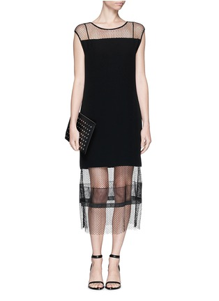Detail View - Click To Enlarge - Helmut Lang - Engineered lace insert crepe dress