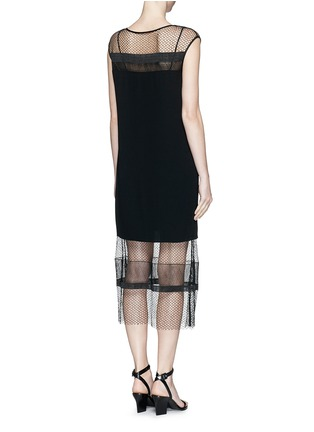 Back View - Click To Enlarge - Helmut Lang - Engineered lace insert crepe dress