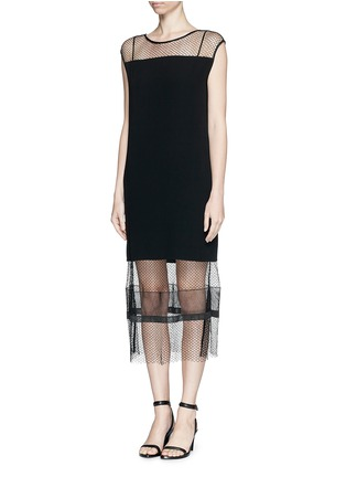 Figure View - Click To Enlarge - Helmut Lang - Engineered lace insert crepe dress