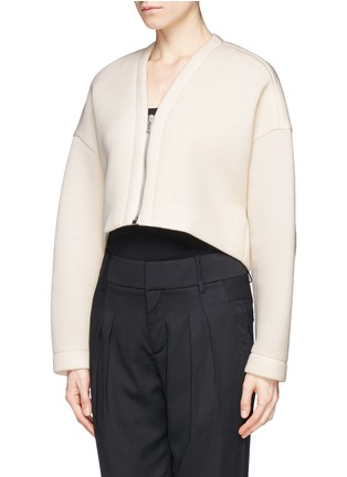 Front View - Click To Enlarge - Helmut Lang - Bonded jersey cropped jacket