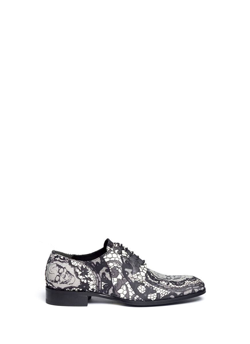 Skull and lace print fabric derbies