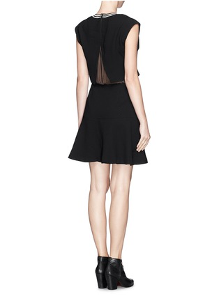 Back View - Click To Enlarge - SANDRO - 'Raoule' mesh layer textured crepe skater dress