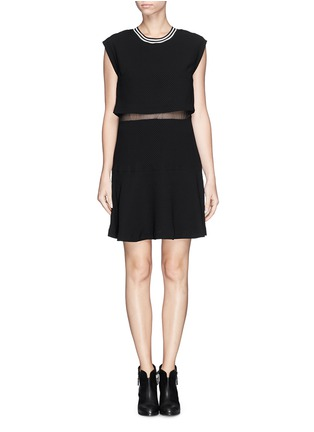 Main View - Click To Enlarge - SANDRO - 'Raoule' mesh layer textured crepe skater dress
