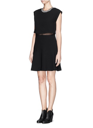 Figure View - Click To Enlarge - SANDRO - 'Raoule' mesh layer textured crepe skater dress