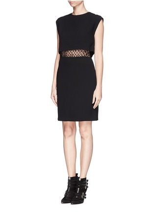 Front View - Click To Enlarge - SANDRO - 'Roberta' spot lace midriff dress