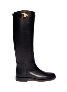 VALENTINO'Animalia' tiger buckle leather riding boots