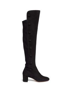 VALENTINO'Rockstud' thigh high suede boots