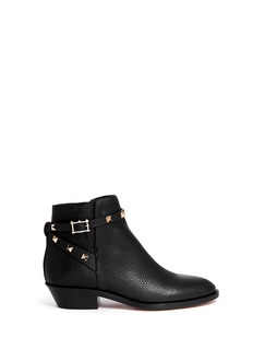 VALENTINO'Rockstud' ankle strap leather cowboy boots