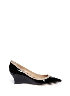 VALENTINO 'Rockstud' patent leather wedge pumps