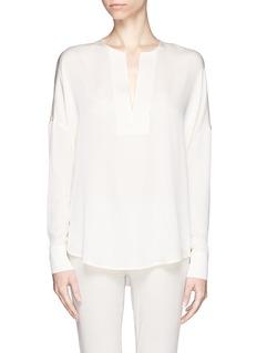 VINCETrapunto split neck silk blouse