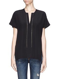 VINCELadder stitch trim silk blouse