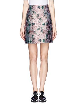 Main View - Click To Enlarge - ERDEM - 'Calista' metallic jacquard pleat skirt