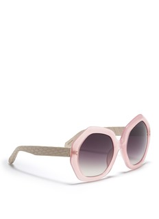 LINDA FARROW Snakeskin temple angular sunglasses