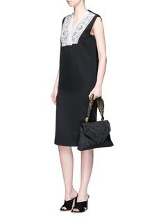 Ms MINFloral mesh bib wool twill chemise dress