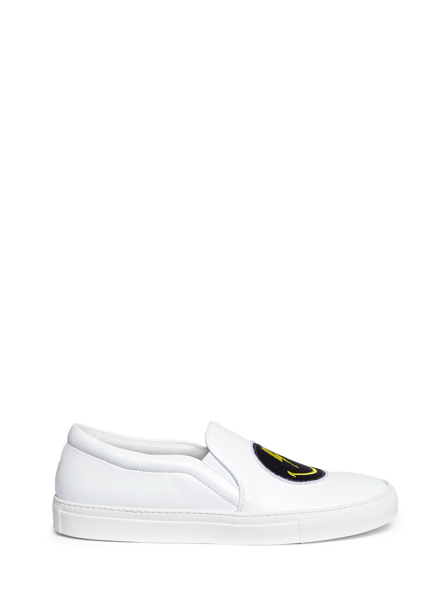 Rainbow Smile embroidered patch slip-on sneakers by Joshua Sanders