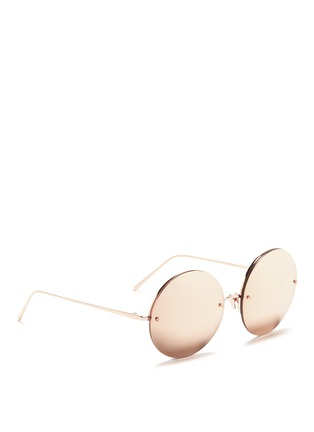 Figure View - Click To Enlarge - Linda Farrow - Metal round mirror sunglasses