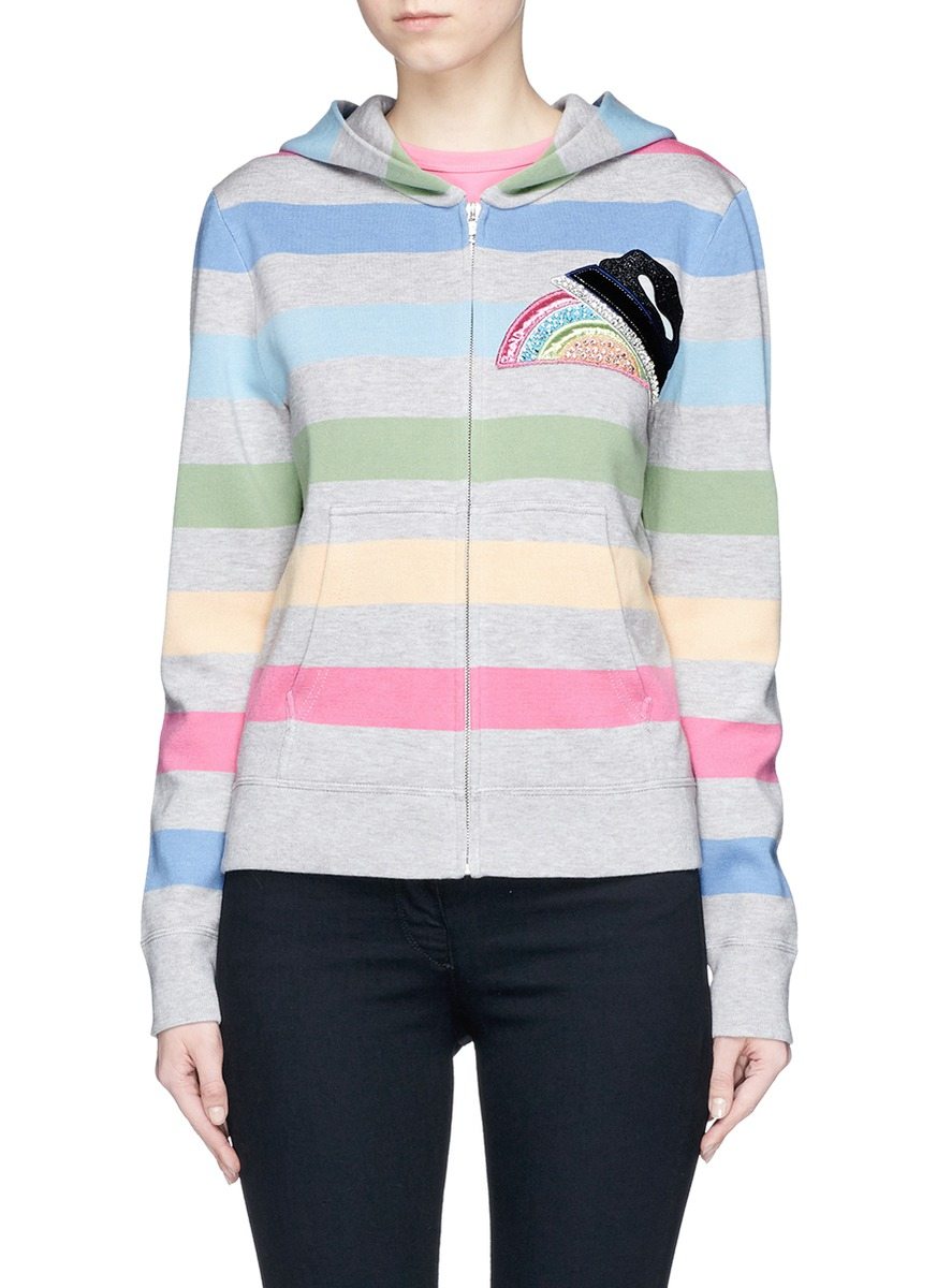 marc jacobs female strass rainbow applique stripe hooded jacket