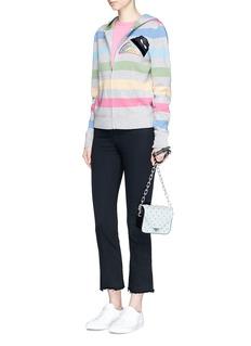 Marc JacobsStrass rainbow appliqué stripe hooded jacket