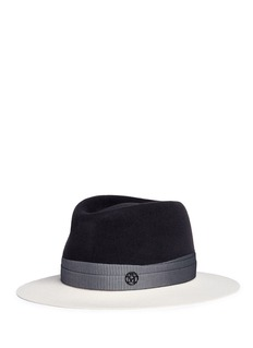 Maison Michel'Andre' colourblock rabbit felt fedora hat