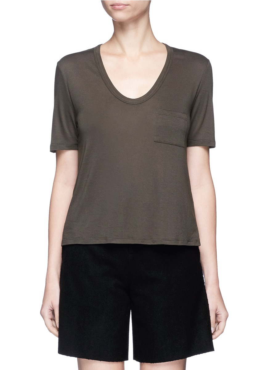 Patch pocket scoop neck rayon T-shirt by T By Alexander Wang