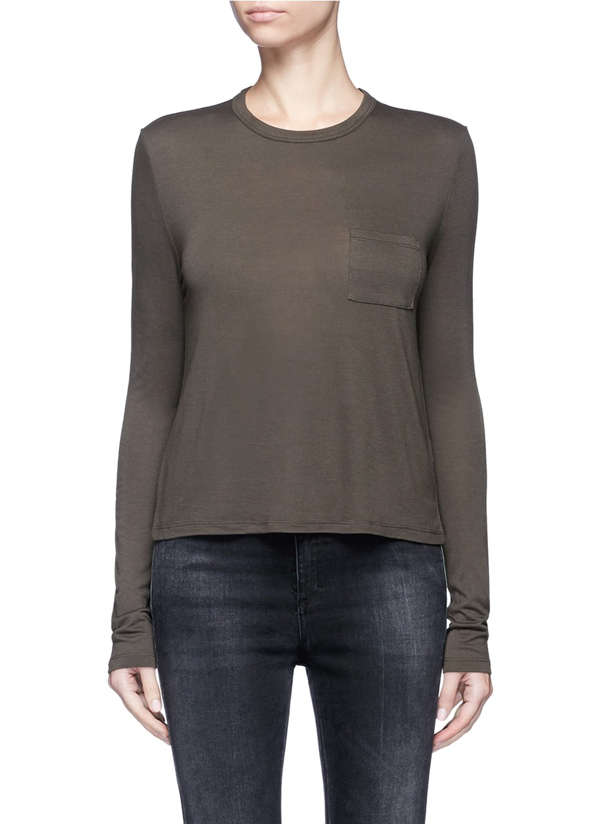 Patch pocket long sleeve rayon T-shirt by T By Alexander Wang