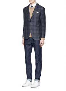 Lardini Check plaid linen-wool-silk soft blazer