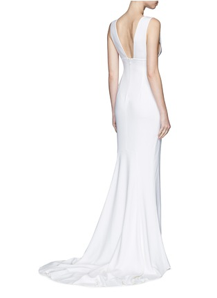 Back View - Click To Enlarge - Stella McCartney - Plunge V-neck stretch cady gown