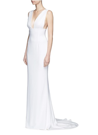 Front View - Click To Enlarge - Stella McCartney - Plunge V-neck stretch cady gown