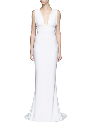 Main View - Click To Enlarge - Stella McCartney - Plunge V-neck stretch cady gown