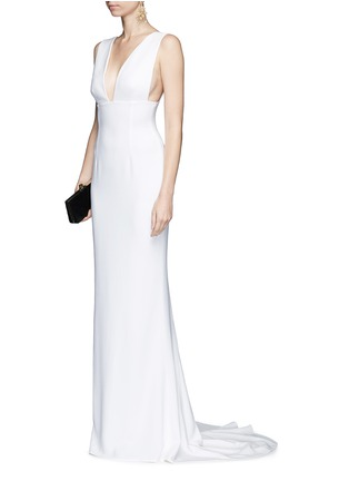 Figure View - Click To Enlarge - Stella McCartney - Plunge V-neck stretch cady gown