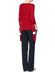 Ports 1961Cutout elbow contrast stripe virgin wool sweater