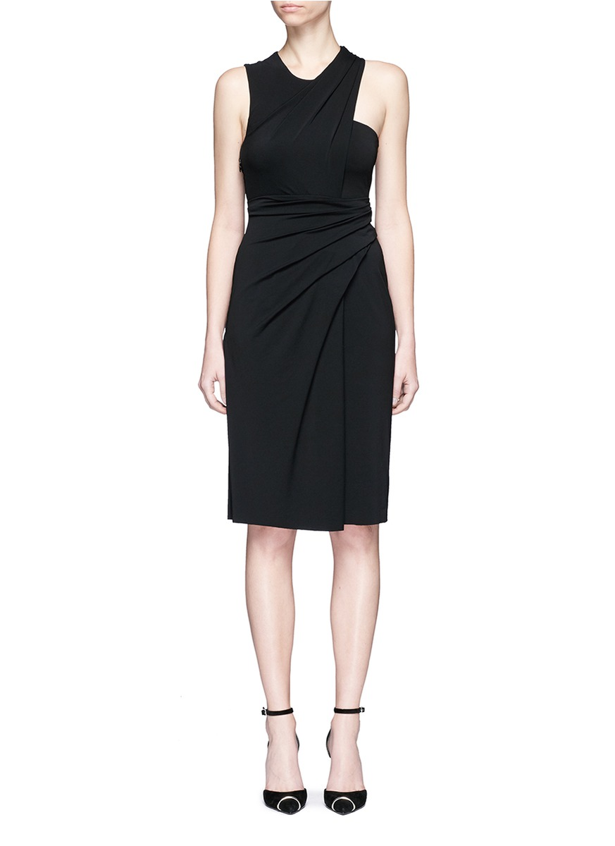 Asymmetric drape crepe sleeveless dress by Alexander Wang
