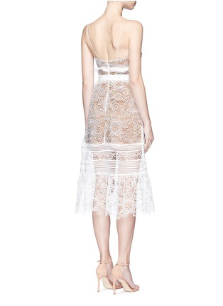 Back View - Click To Enlarge - self-portrait - 'Floral Blush' organza frill guipure lace midi dress